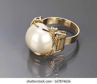 Wire Wrapped White Mobe Pearl Ring