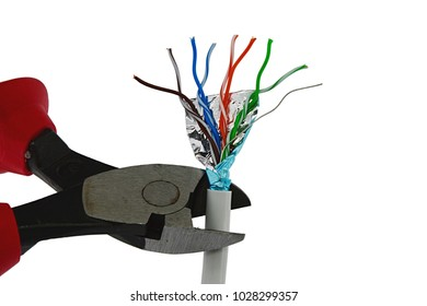 Wire-cutters pliers cutting end of data STP LAN cable, white background.