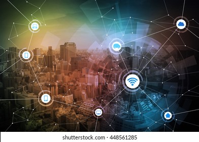 wired network concept icons, information communication technology, internet of things, abstract image visual