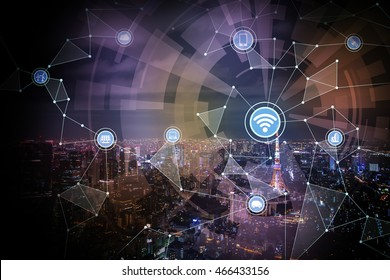wired network concept icons, wireless communication network, IoT(internet of things), CPS(Cyber-Physical Systems), ICT(Information Communication Technology), abstract image visual