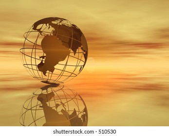Wireframe 3D rendered of world.