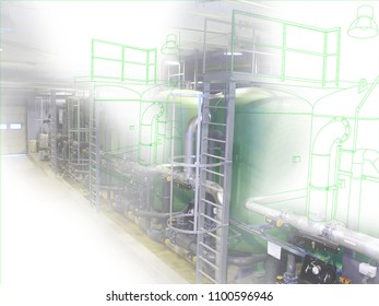 wire-frame computer cad design concept image water treatment tanks at power plant. industrial water treatment tanks in the factory combined with drawing, smart plant solution idea
