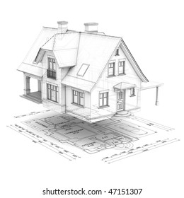 a wireframe house raised above the floor plan, isolated on white background