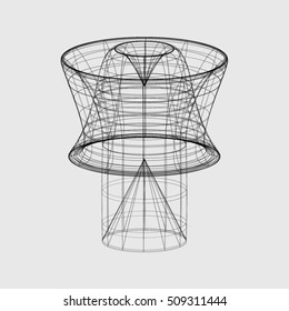 Wireframe shape on a grey background