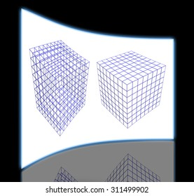 wireframe of two boxes isolated on white background