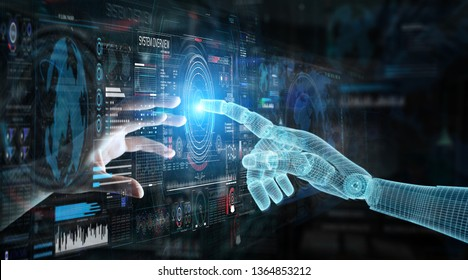 Wireframed robot hand and human hand touching digital graph interface on dark background 3D rendering