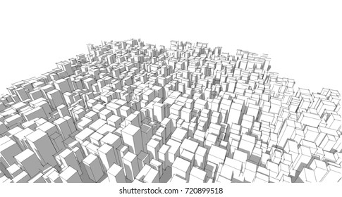 Wireframe,panorama, architecture abstract, 3d illustration