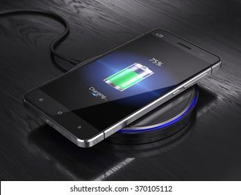 Wireless charging of smartphone - 3d render
