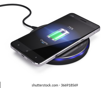 Wireless charging of smartphone isolated on white background - 3d render