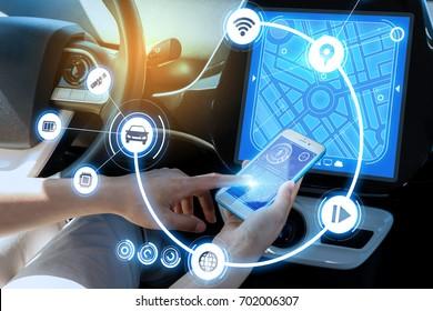 wireless communication between smart phone and car instrument panel. autonomous car.