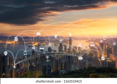 Wireless communication network in Big city concept. IoT(Internet of Things). ICT(Information Communication Technology)