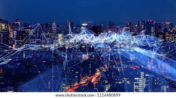Wireless communication network concept. IoT(Internet of Things). ICT(Information Communication Technology).