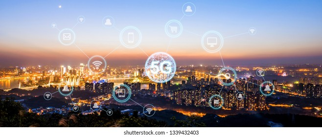 Wireless communication network concept.Panorama of Modern City