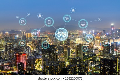 Wireless communication network concept.Panorama of Modern City