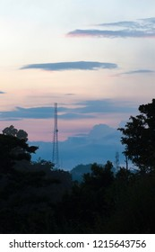 Wireless communication towers with beautiful sunset in the background