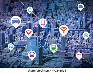 wireless communication of various mobile devices and transportation, location information, abstract image visual