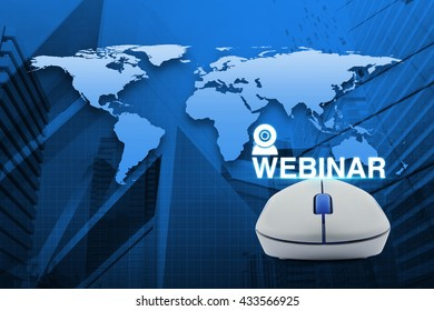 Wireless computer mouse with webinar icon over map and city tower background, Seminar online concept, Elements of this image furnished by NASA