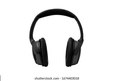 Wireless Headphones, Black leather isolated on white background with clipping path