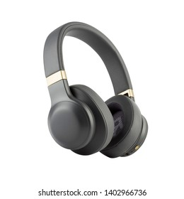 Wireless Headphones Isolated on White Background. Black Silver Over-the-Ear Headset With Noise Cancelling and Integrated Microphone. Side View of Acoustic Stereo Sound System