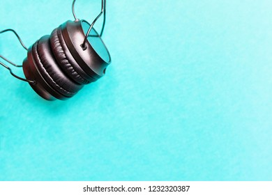 Wireless Headphones on colorful background  for music sound with copy space