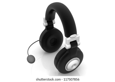 Wireless headphones on a white background.