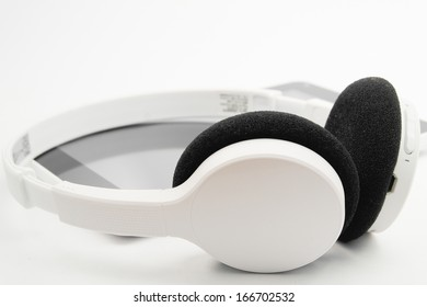wireless headphones and tablet bluetooth wireless on isolated background