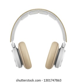 Wireless Headphones with Touch Controls Isolated on White Background. Front View of Beige and White Stereo Bluetooth Headset with Active Noise Reduction Inline Mic Integrated Microphone