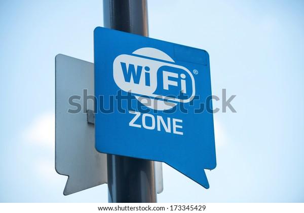 Wireless internet sign on pole on the street