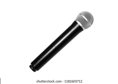 Wireless microphone color black isolated on white background