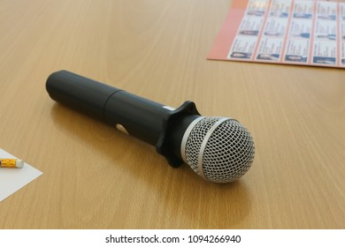 wireless microphone lay on the table