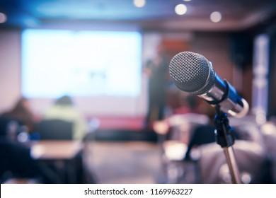 Wireless microphone in seminar room