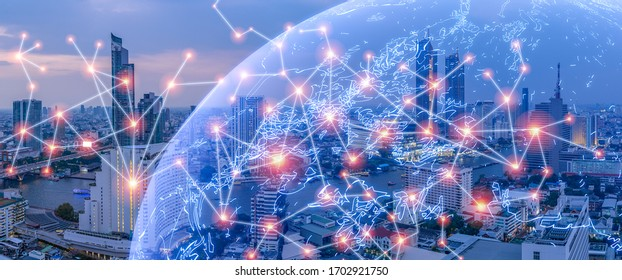 Wireless Network City concept, with line connecting together, modernize an internet of things era connecting everything in city background of metropolis city urbanize