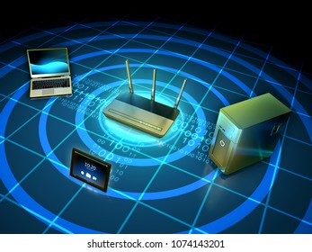 Wireless network connecting a laptop, workstation and tablet. 3D illustration.