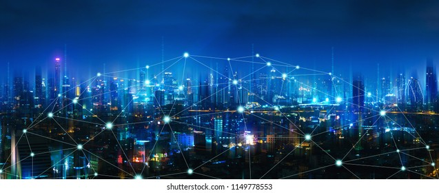 Wireless network and Connection technology concept with Bangkok city background at night in Thailand, panorama view - Shutterstock ID 1149778553