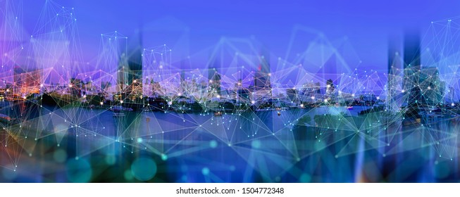 Wireless network and Connection technology concept with Abstract Bangkok city background in panorama view