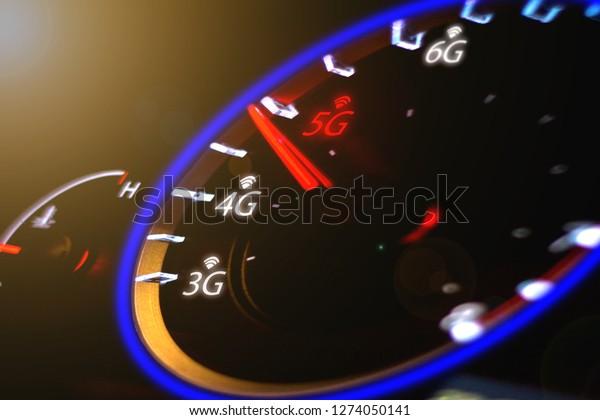 Wireless network speed. 5G high speed internet concept.  ,5g Concept Car speedometer