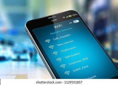 Wireless networking on mobile devices business communication technology concept 3D render of smartphone with list of WiFi network connections message on screen in the shopping mall or airport terminal