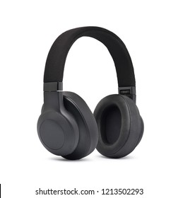 Wireless Over-Ear (full size) Headphones, Black leather isolated on white background with clipping path