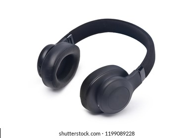 Wireless Over-Ear Headphones, Black leather isolated on white background with clipping path
