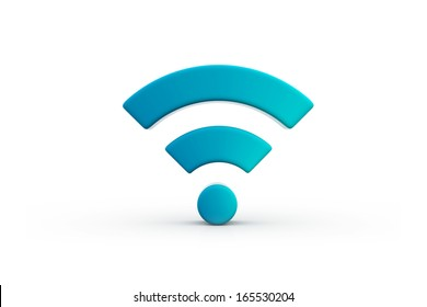 wireless signal icon in blue on isolated white background
