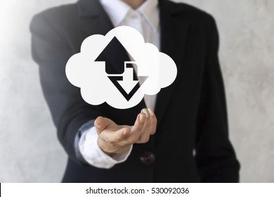 Wireless storage cloud sync internet business concept. Woman offers cloud icon with arrows up down. Download upload synchronization computing server technology.