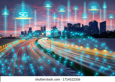 Wireless technology, telecommunication, internet of things concept, Smart city connect by high speed 5G technology