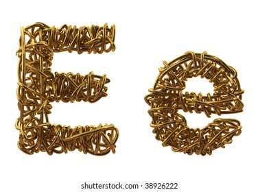 Wires gold font