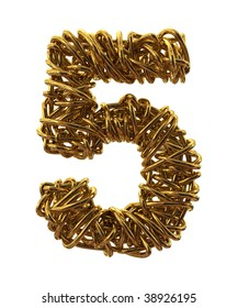 Wires gold font number five