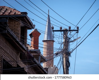 Wires on a pole in Kosovo