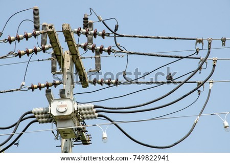 Wiring Harness On Power Poles Stock Photo (Edit Now) 749822941 ... on coal towers, furniture towers, steam towers, structural towers, engineering towers, control towers,