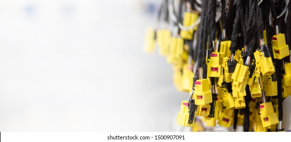 Wiring harnesses, automobile industry, production. Industrial background with copy space, banner format