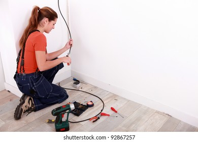 Wiring the house.