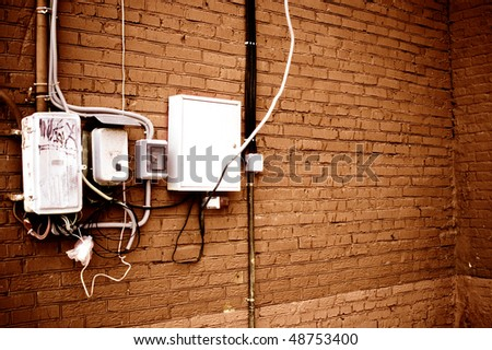 Groovy Wiring On Brick Wall Stock Photo Edit Now 48753400 Shutterstock Wiring Digital Resources Indicompassionincorg