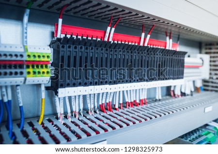 Astonishing Wiring Plc Control Panel Wires Industrial Stock Photo Edit Now Wiring Digital Resources Antuskbiperorg